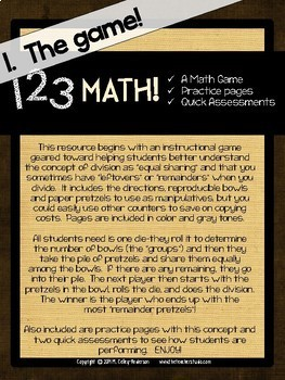 1 2 3 Math: Basic Division with Remainders Game, Practice, and Assessment