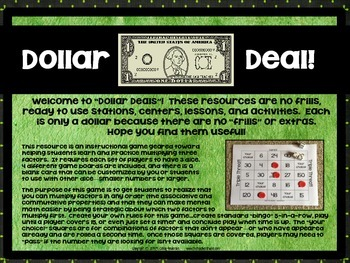"Dollar Deals:  ""Triple Threat"": A 3 Factor Multiplication Bingo Game"