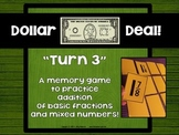 "Dollar Deals:  ""Turn 3"" An Addition of Fractions Memory Game"