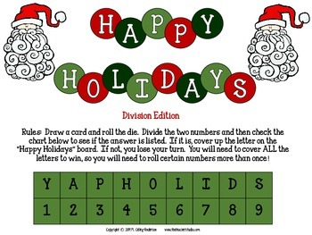 """Dollar Deals:  """"Winter Holiday Division Challenge"""": A Game to Build Fluency"""