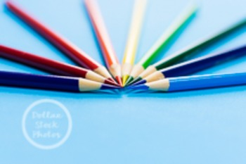 Dollar Stock Photo 136 Colored Pencils on Blue