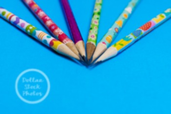 Dollar Stock Photo 219 Spring Pencils on Blue