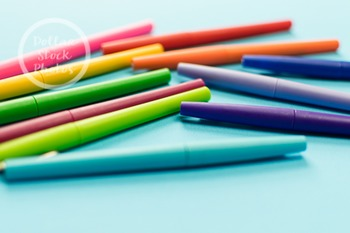 Dollar Stock Photo 280 Colorful Pens on Teal