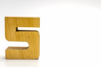 Dollar Stock Photo 358 Math Wooden Number Five