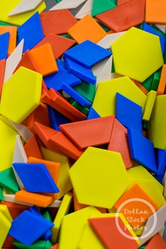 Dollar Stock Photo 363 Pile of Pattern Blocks