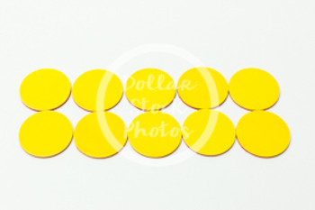 Dollar Stock Photo 423 Math 10 yellow disks