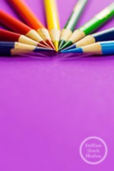 Dollar Stock Photo 83 Colored Pencils on Purple