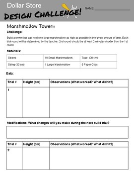Dollar Store Design Challenge - Marshmallow Tower