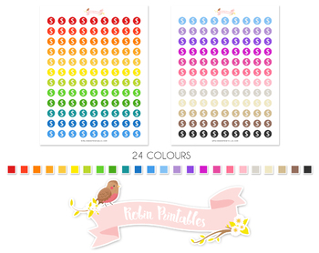 Dollar Symbol Printable Planner Stickers