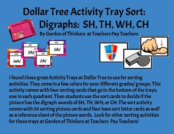 Dollar Tree Activity Tray Sorting: Digraphs SH, TH, WH, and CH