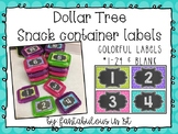 Dollar Tree Snack Container Labels