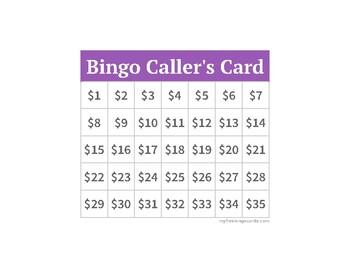 Dollar Up Bingo Cards