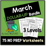 Dollar-Up Bundle March- Life Skills Money Math for Special
