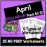 Dollar-Up Pack $1-10 April- Life Skills Money Math for Spe