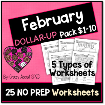 Dollar-Up Pack $1-10 February- Life Skills Money Math for Special Education