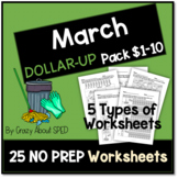 Dollar-Up Pack $1-10 March- Life Skills Money Math for Spe