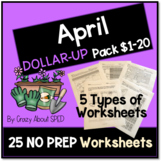 Dollar-Up Pack $1-20 April- Life Skills Money Math for Spe