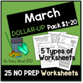 Dollar-Up Pack $1-20 March- Life Skills Money Math for Spe