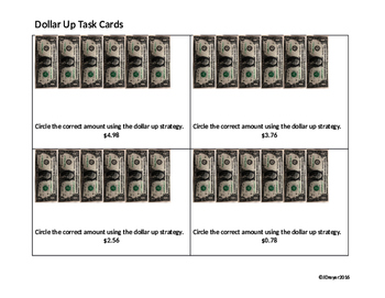 Dollar Up Task Cards