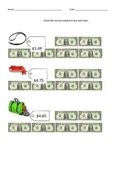Dollar Up Worksheet {Freebie}
