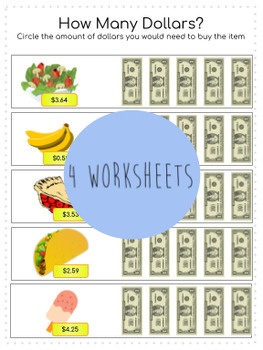 Dollar Up Worksheets / File Folder Activity