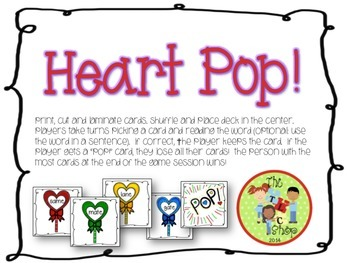 $$DollarDeals$$ Heart Pop! Long A + Silent E Card Game
