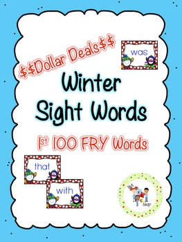 $$DollarDeals$$ Winter Sight Word Cards - 1st 100 FRY