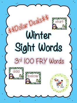 $$DollarDeals$$ Winter Sight Word Cards - 3rd 100 FRY