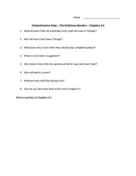Dollhouse Murder Comprehension Worksheets Complete Packet