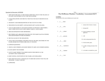 Dollhouse Murders Questions and Vocabulary with key