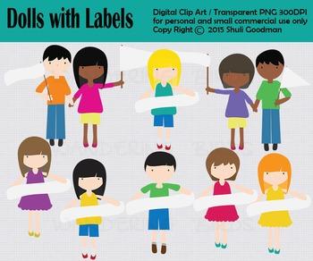 Dolls with labels, Kids clip art