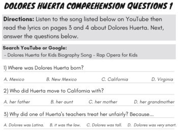 Dolores Huerta Reading Comprehension Civil Rights Reading Passage with Song