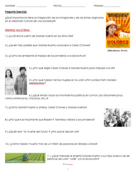 Dolores Huerta Documentary Movie Guide Questions in ENGLISH & SPANISH