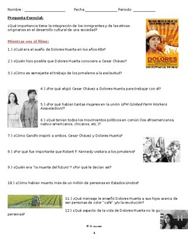 Dolores Huerta Documentary Movie Guide Questions in SPANISH