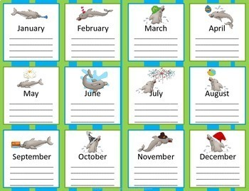 Dolphin 12 Month Birthday Chart with additional monthly cards