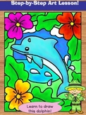 Directed Drawing. Learn to Draw a Dolphin Art Lesson