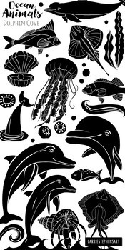 Dolphin Black Line Art, Ocean Animals Silhouettes, Hand Drawn Graphics, LineArt