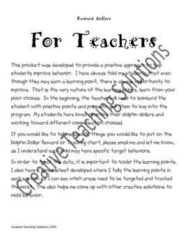 Behavior Management- Dolphin Dollar Positive Reward System