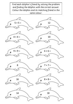 Dolphin Doubles Worksheet