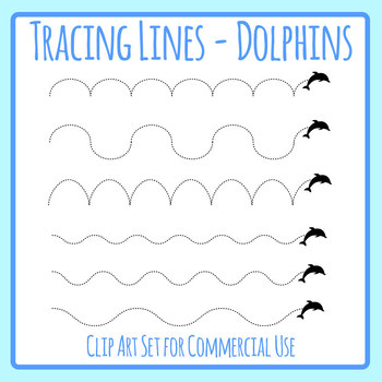 Dolphin Jumping Tracing Lines - Left to Right / Pencil Control Dashed or Dotted