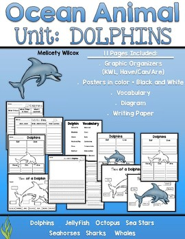 Dolphin Nonfiction Unit: Graphic Organizers, Posters, and Writing Paper