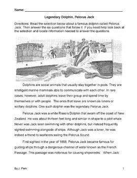 Dolphin Story LEGENDARY PELORUS JACK 6 Multiple Choice Qs
