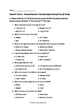 Dolphin Tale 2 Comprehension Tests