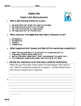 Dolphin Tale Assessment chapter 1 PARCC like Common Core S
