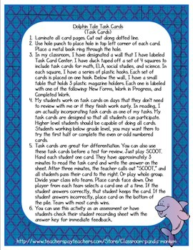 Dolphin Tale Task Cards (CC Aligned)