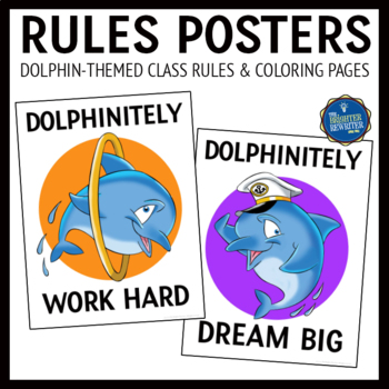 Dolphin Theme Classroom Rules Posters
