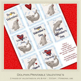 Dolphin Themed Printable Valentine's