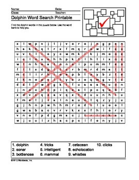 Dolphin Word Search Printable