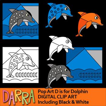 Dolphin clipart - Alphabet D - Pop art interactive clip art