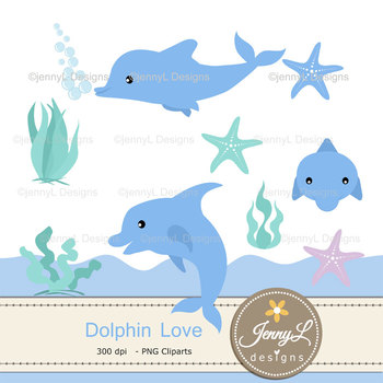 Dolphin digital paper and clipart